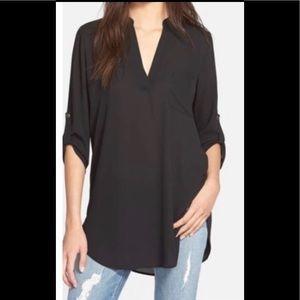 Lush perfect roll tab sleeve tunic black Large